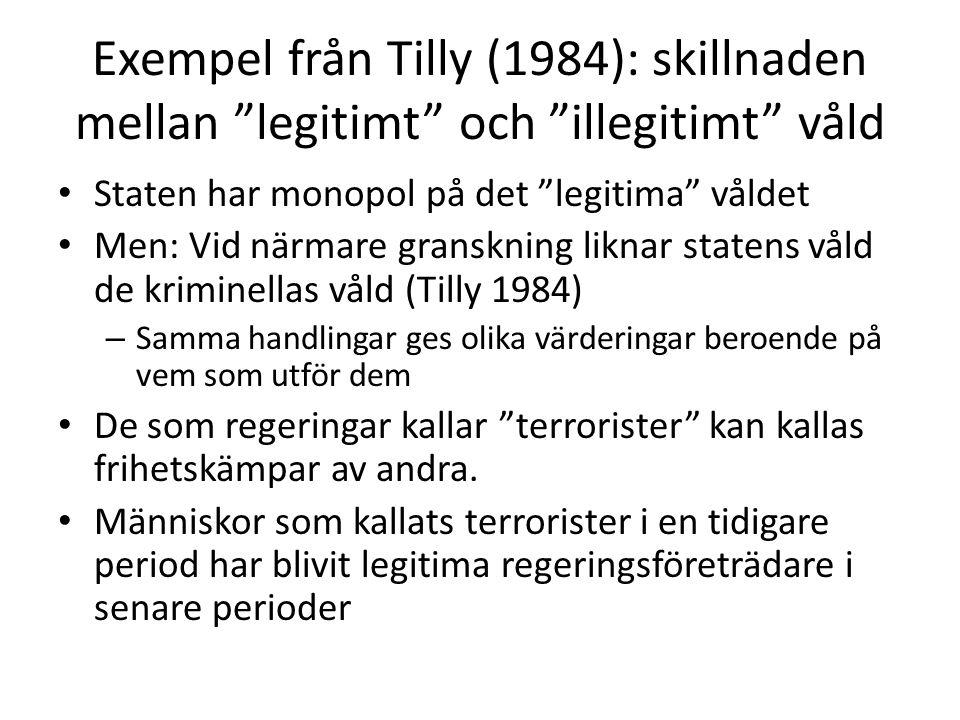 Exempel från Tilly (1984): skillnaden mellan legitimt och illegitimt våld