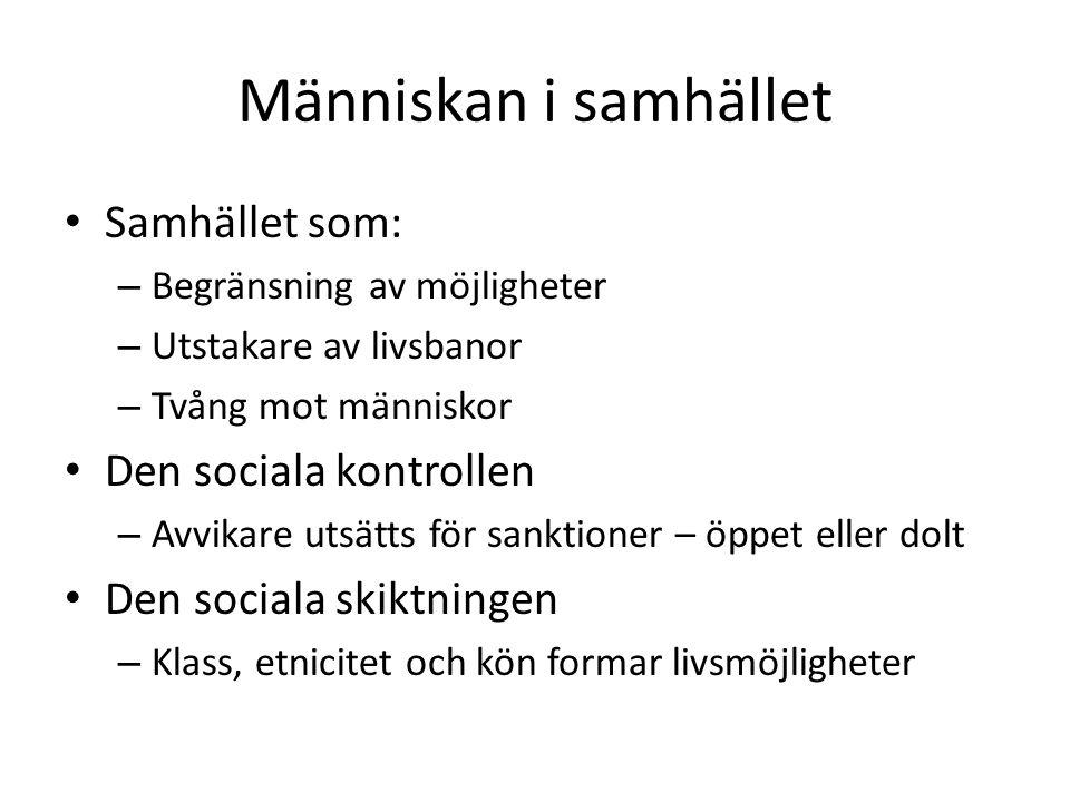 Människan i samhället Samhället som: Den sociala kontrollen