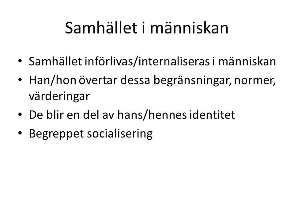 Samhället i människan Samhället införlivas/internaliseras i människan