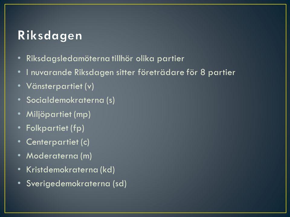 Riksdagen Riksdagsledamöterna tillhör olika partier