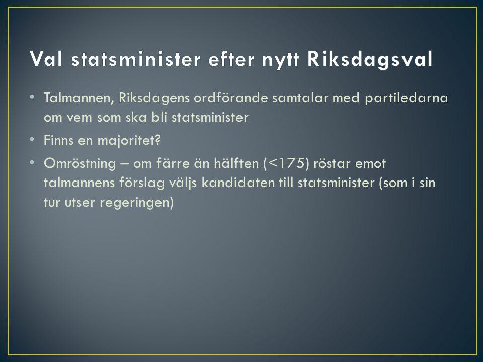 Val statsminister efter nytt Riksdagsval