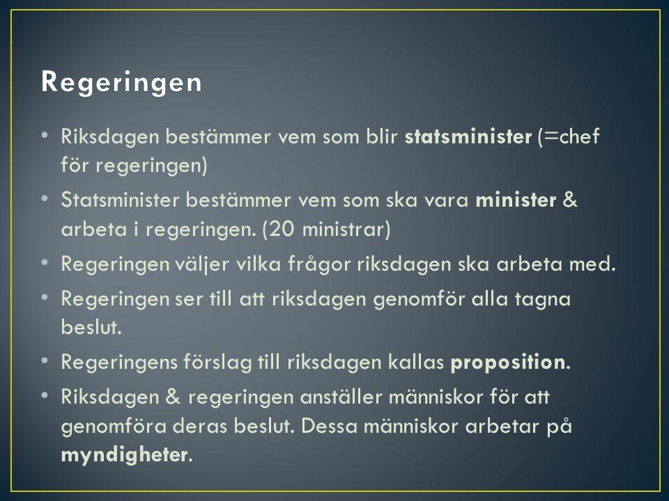 Regeringen Riksdagen bestämmer vem som blir statsminister (=chef för regeringen)