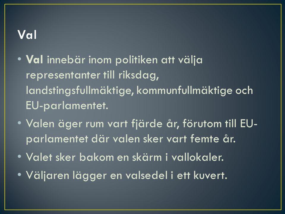 Val Val innebär inom politiken att välja representanter till riksdag, landstingsfullmäktige, kommunfullmäktige och EU-parlamentet.