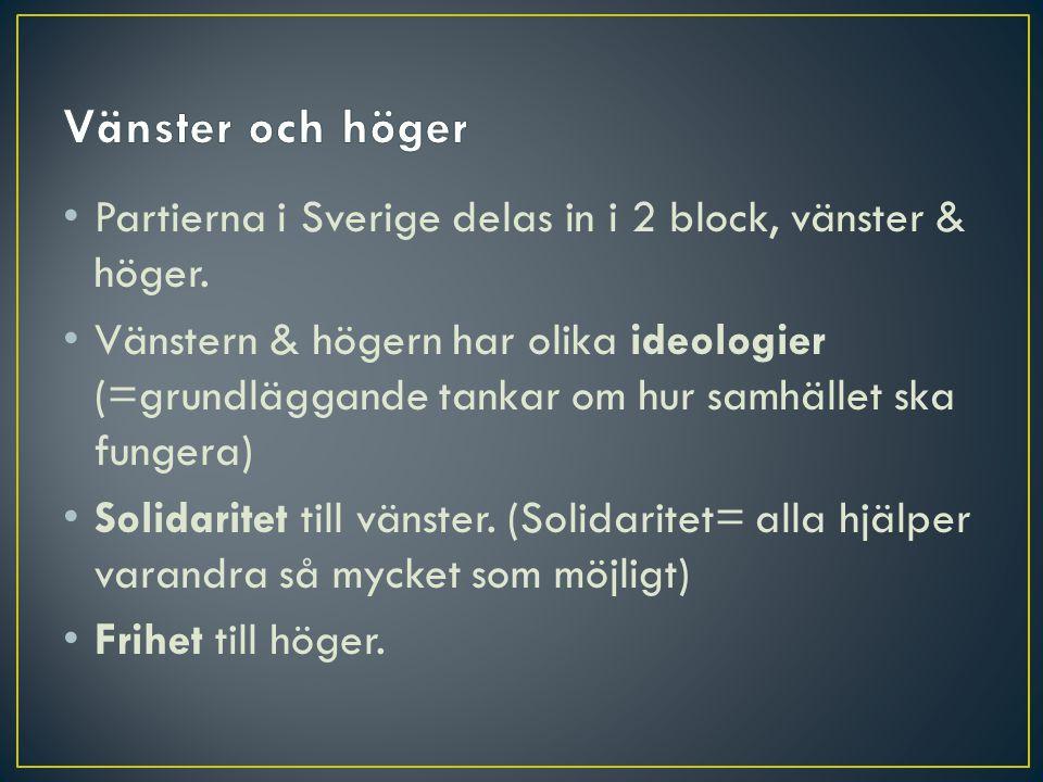 Vänster och höger Partierna i Sverige delas in i 2 block, vänster & höger.