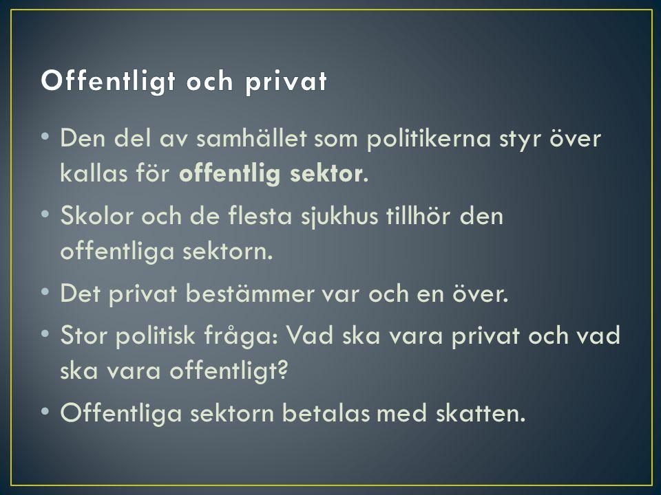 Offentligt och privat Den del av samhället som politikerna styr över kallas för offentlig sektor.