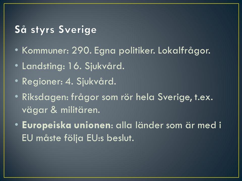 Så styrs Sverige Kommuner: 290. Egna politiker. Lokalfrågor.