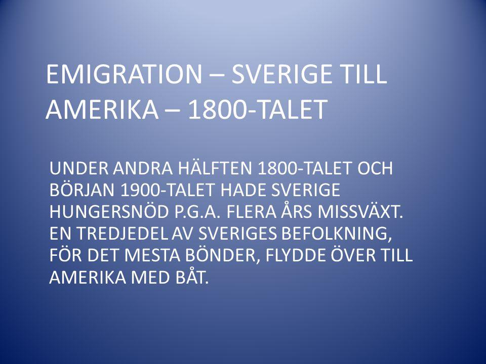 EMIGRATION – SVERIGE TILL AMERIKA – 1800-TALET