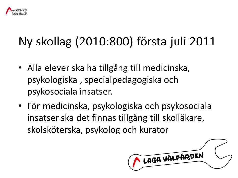Ny skollag (2010:800) första juli 2011