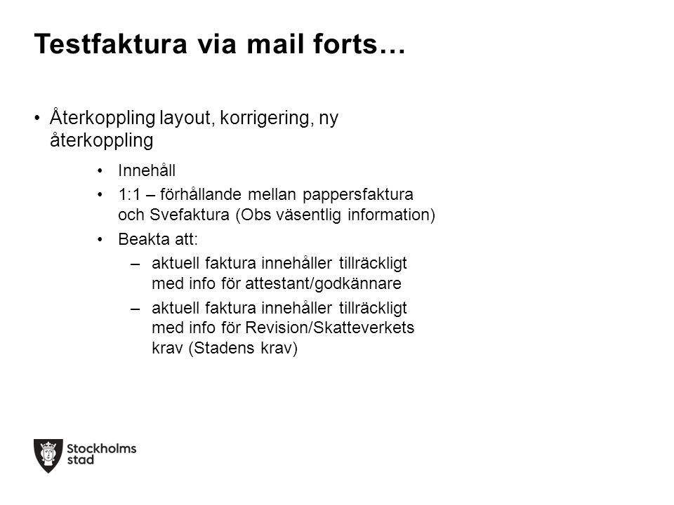 Testfaktura via mail forts…