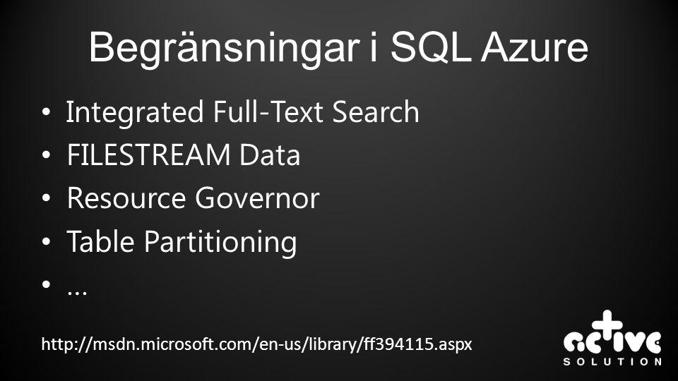 Begränsningar i SQL Azure