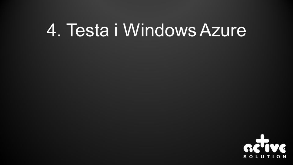 4. Testa i Windows Azure