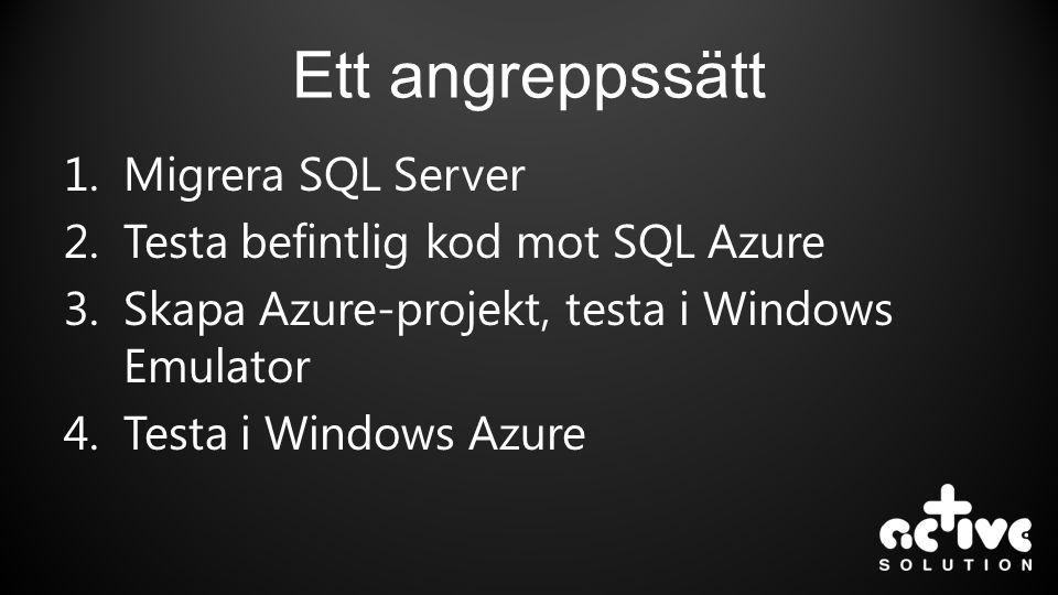 Ett angreppssätt Migrera SQL Server Testa befintlig kod mot SQL Azure