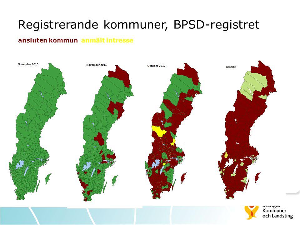Registrerande kommuner, BPSD-registret ansluten kommun anmält intresse
