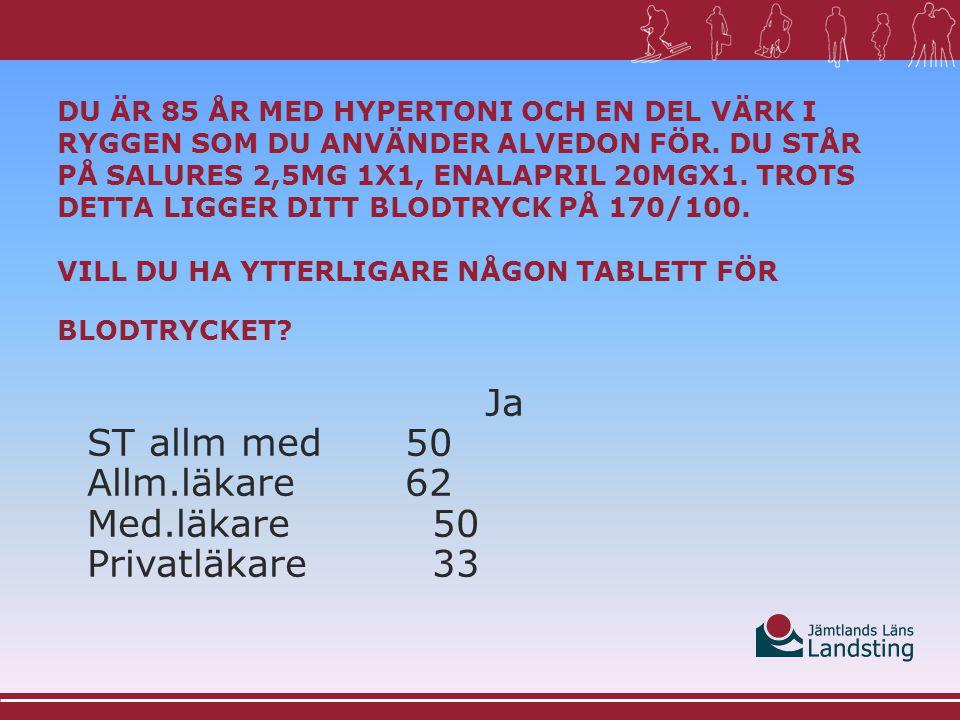 Ja ST allm med 50 Allm.läkare 62 Med.läkare 50 Privatläkare 33