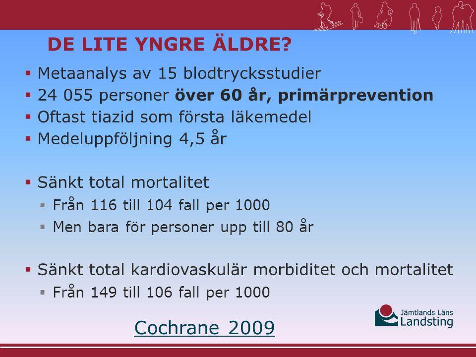 De lite yngre äldre Cochrane 2009 Metaanalys av 15 blodtrycksstudier