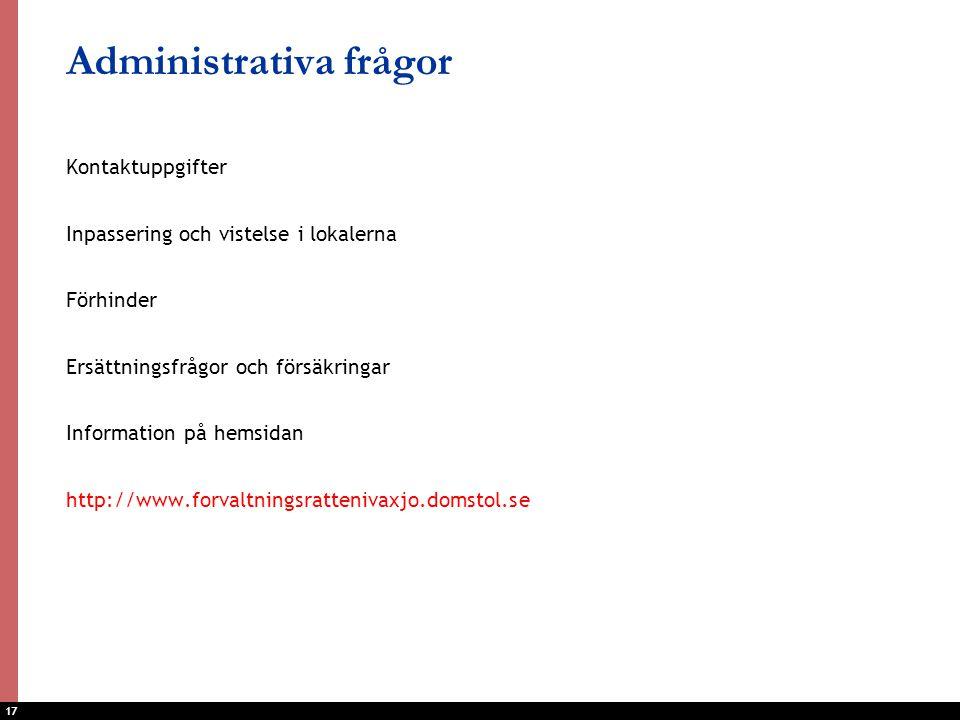 Administrativa frågor
