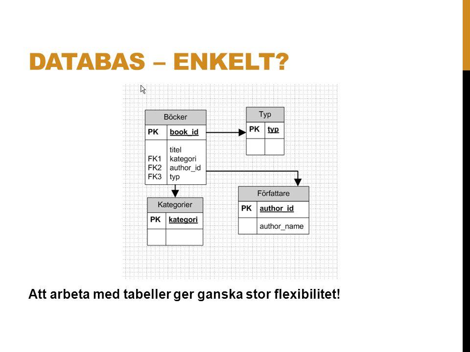 Databas – enkelt Att arbeta med tabeller ger ganska stor flexibilitet!