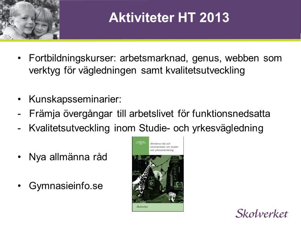 Aktiviteter HT 2013 Fortbildningskurser: arbetsmarknad, genus, webben som verktyg för vägledningen samt kvalitetsutveckling.