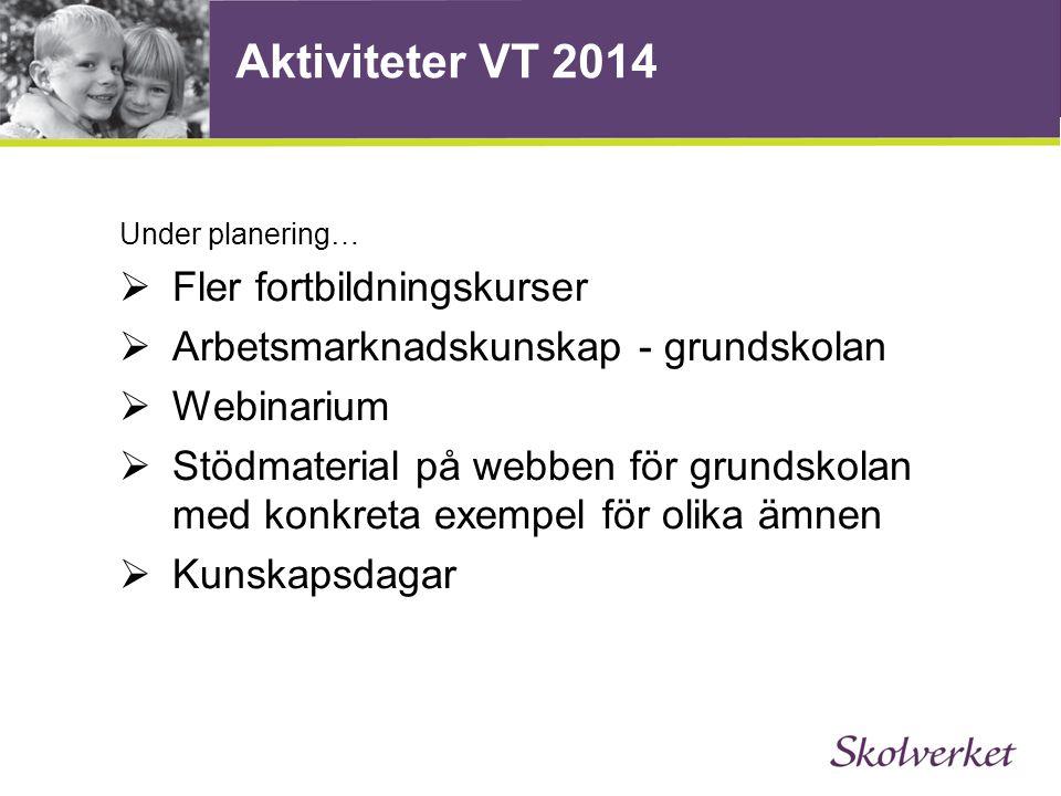 Aktiviteter VT 2014 Fler fortbildningskurser