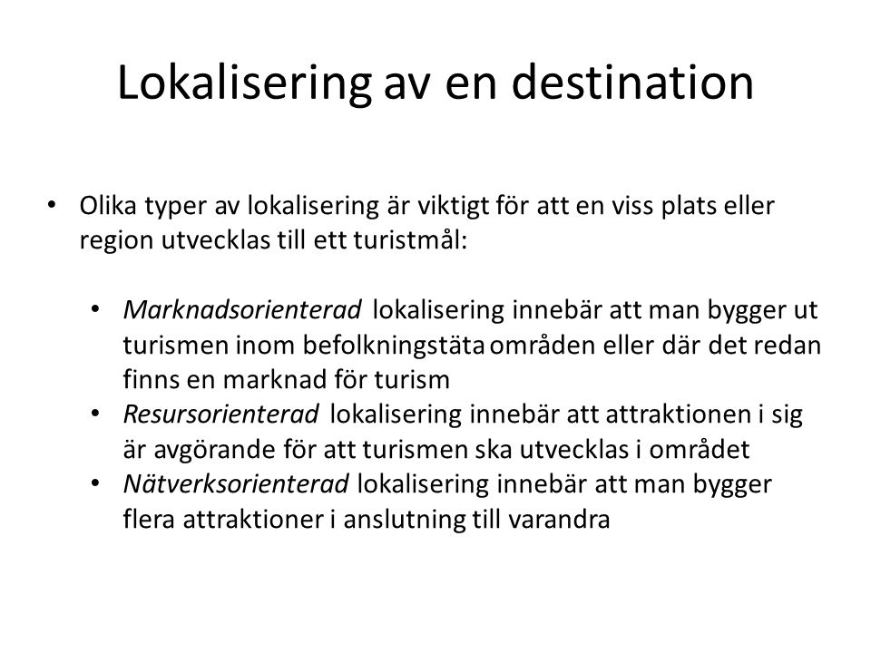 Lokalisering av en destination