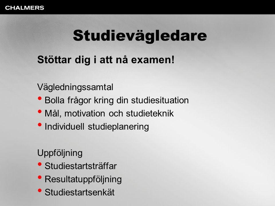 Studievägledare Stöttar dig i att nå examen! Vägledningssamtal