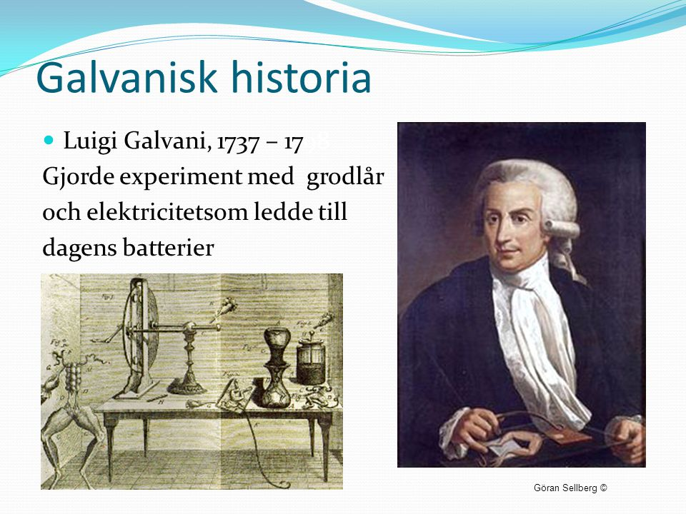 Galvanisk historia Luigi Galvani, 1737 – 1798