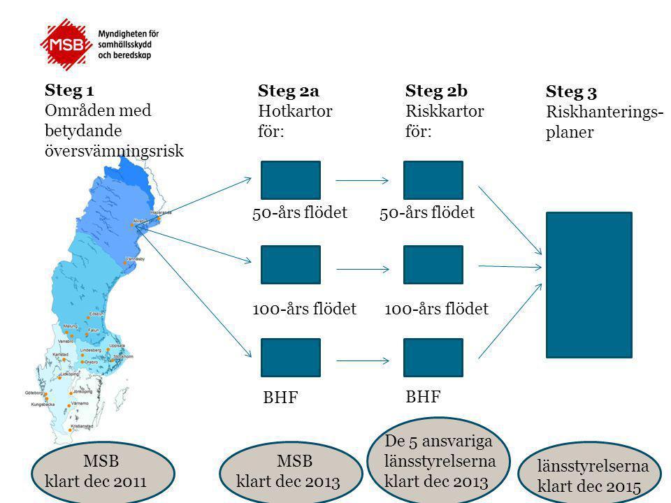Områden med betydande översvämningsrisk Steg 2a Hotkartor för: Steg 2b