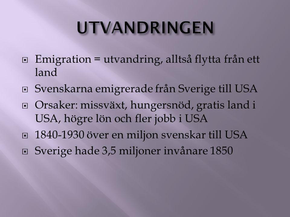 utvandringen Emigration = utvandring, alltså flytta från ett land