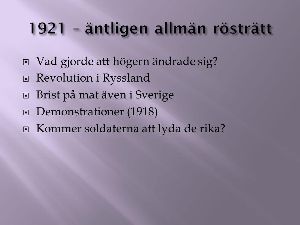 1921 – äntligen allmän rösträtt