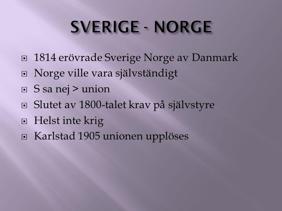 Sverige - Norge 1814 erövrade Sverige Norge av Danmark
