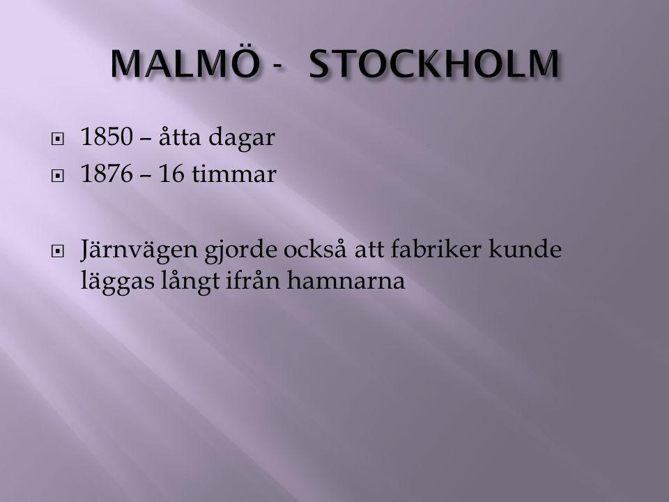 Malmö - stockholm 1850 – åtta dagar 1876 – 16 timmar