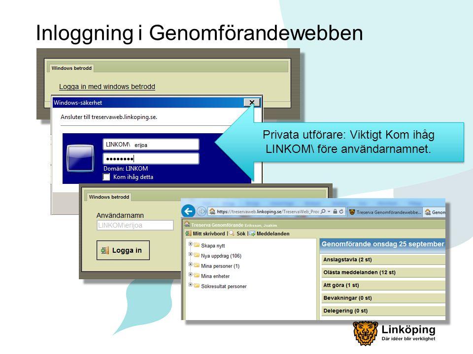 Inloggning i Genomförandewebben