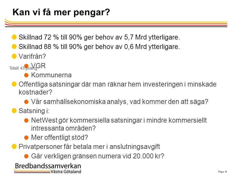 Kan vi få mer pengar Skillnad 72 % till 90% ger behov av 5,7 Mrd ytterligare. Skillnad 88 % till 90% ger behov av 0,6 Mrd ytterligare.