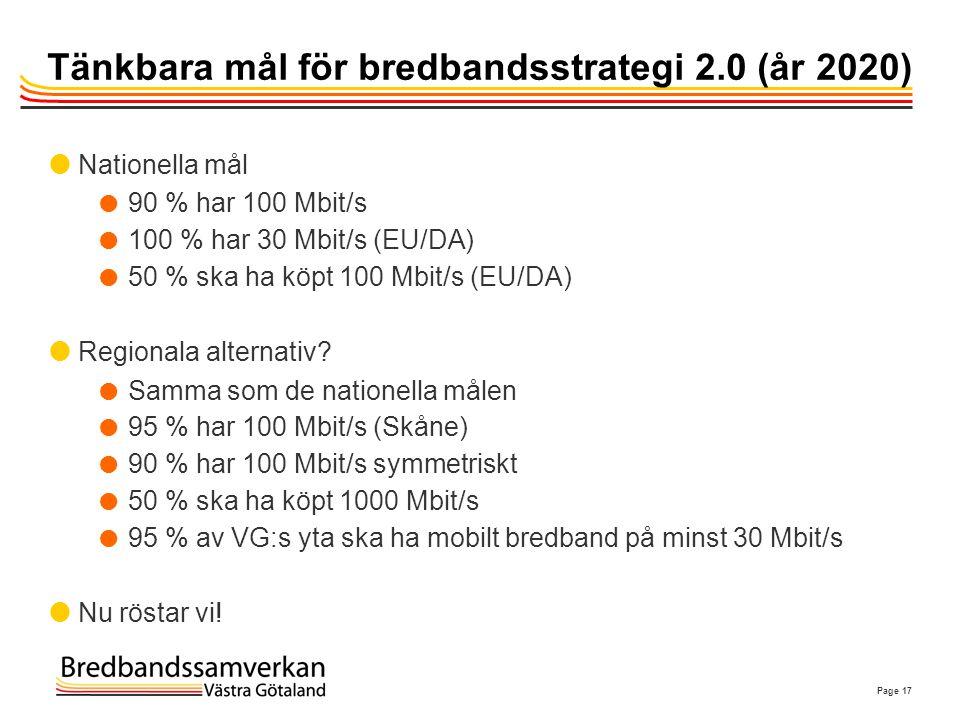 Tänkbara mål för bredbandsstrategi 2.0 (år 2020)