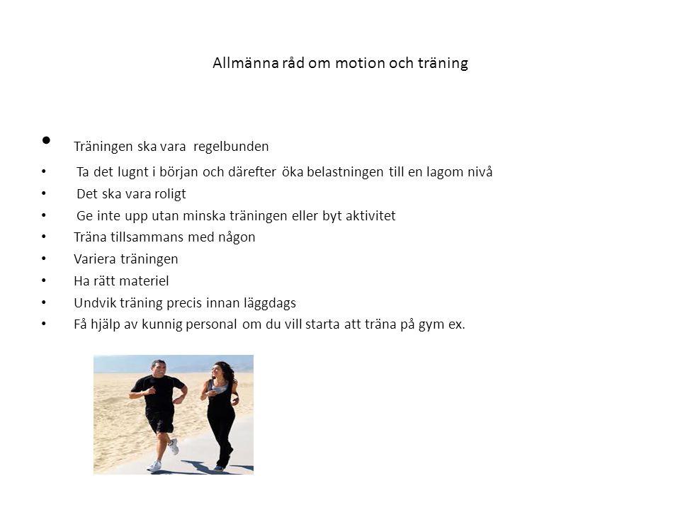 Allmänna råd om motion och träning