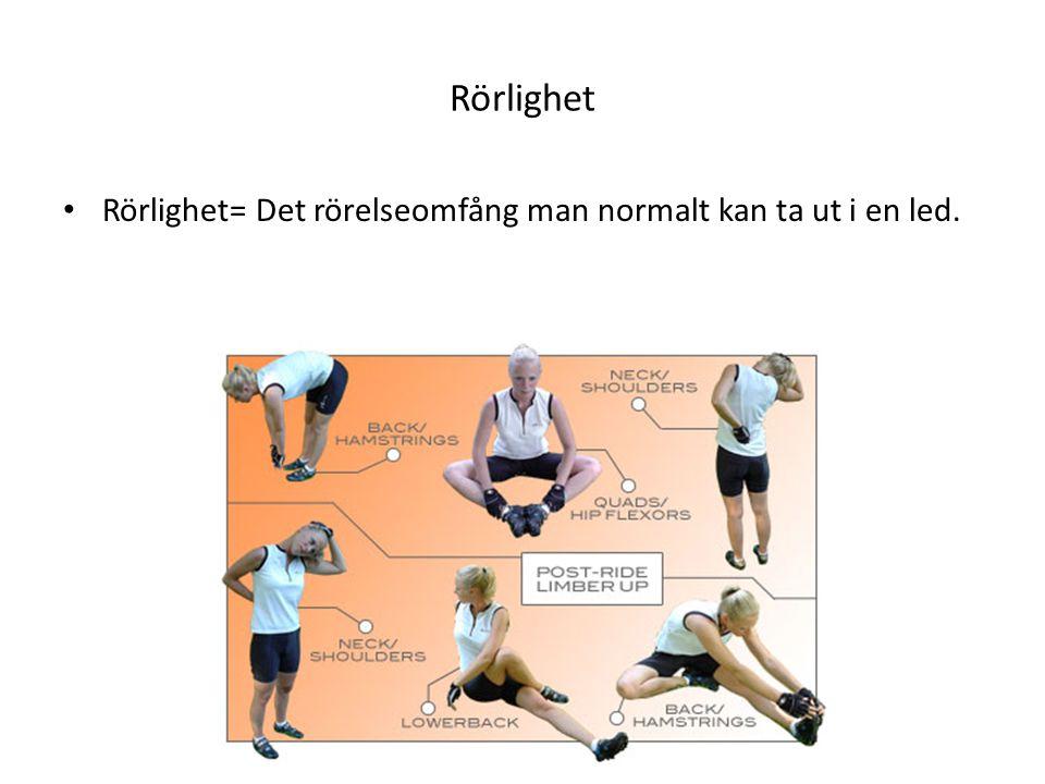Rörlighet Rörlighet= Det rörelseomfång man normalt kan ta ut i en led.