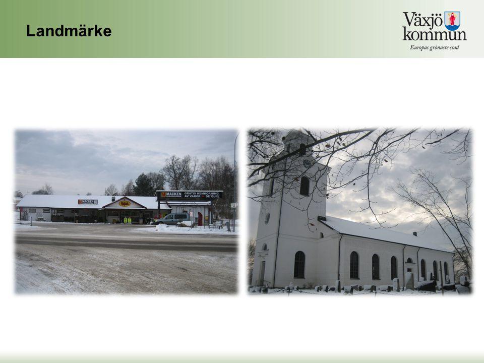 Landmärke Två stora landmärkena är affären, Macken och Öja kyrka