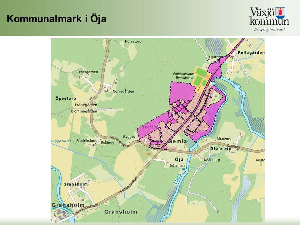Kommunalmark i Öja …och detta är den kommunala marken som finns i Öja.