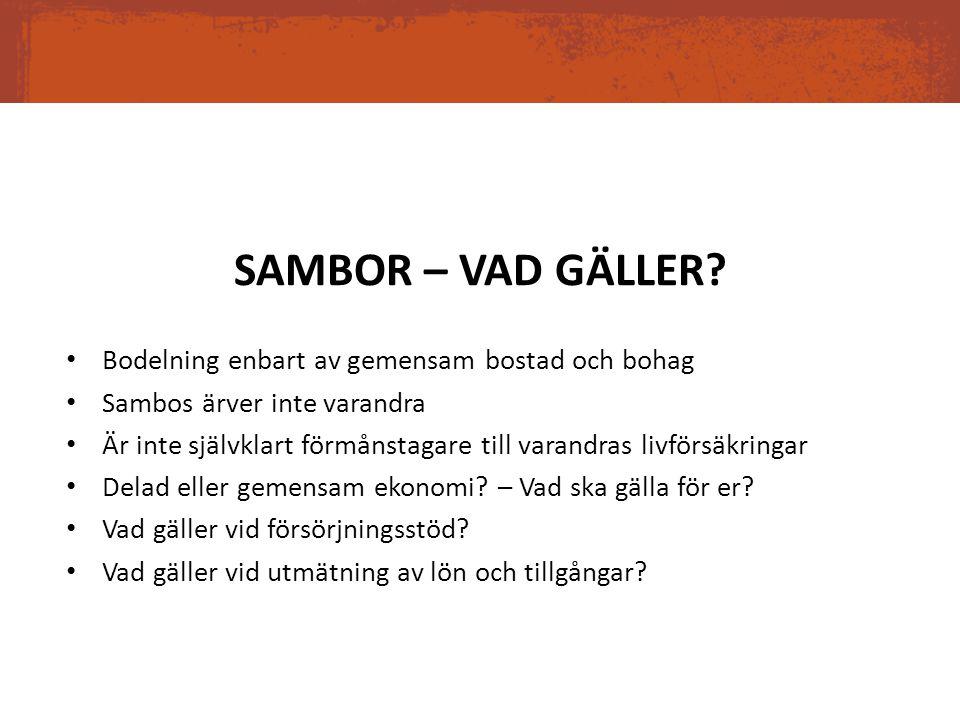 SAMBOR – VAD GÄLLER Bodelning enbart av gemensam bostad och bohag