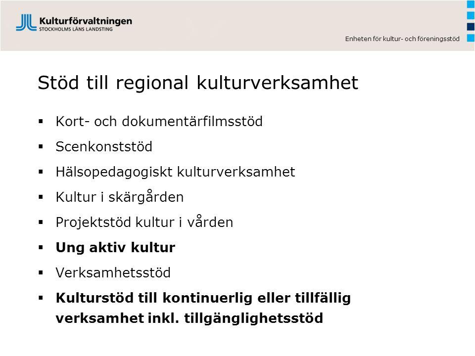Stöd till regional kulturverksamhet