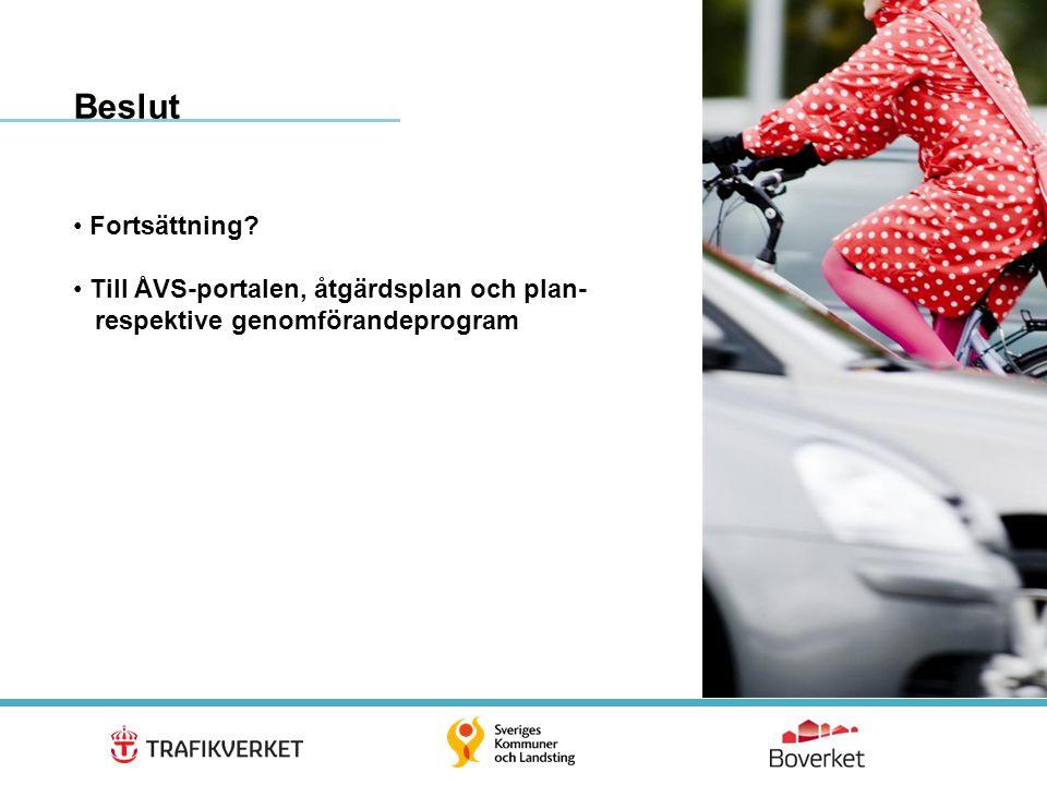 Beslut Fortsättning Till ÅVS-portalen, åtgärdsplan och plan- respektive genomförandeprogram.