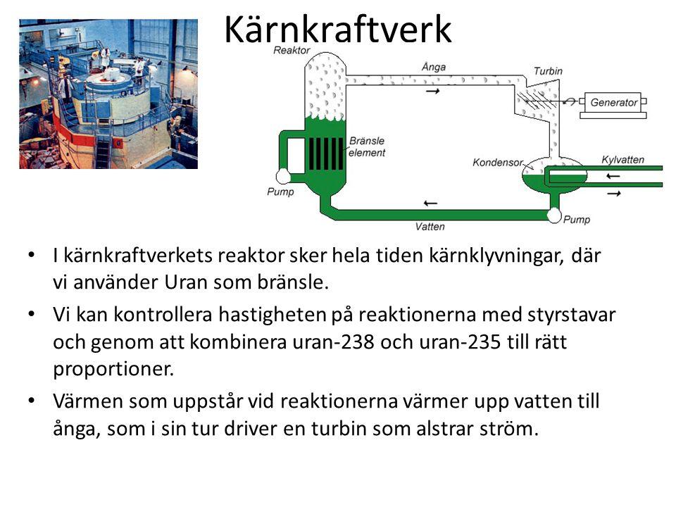 Kärnkraftverk I kärnkraftverkets reaktor sker hela tiden kärnklyvningar, där vi använder Uran som bränsle.