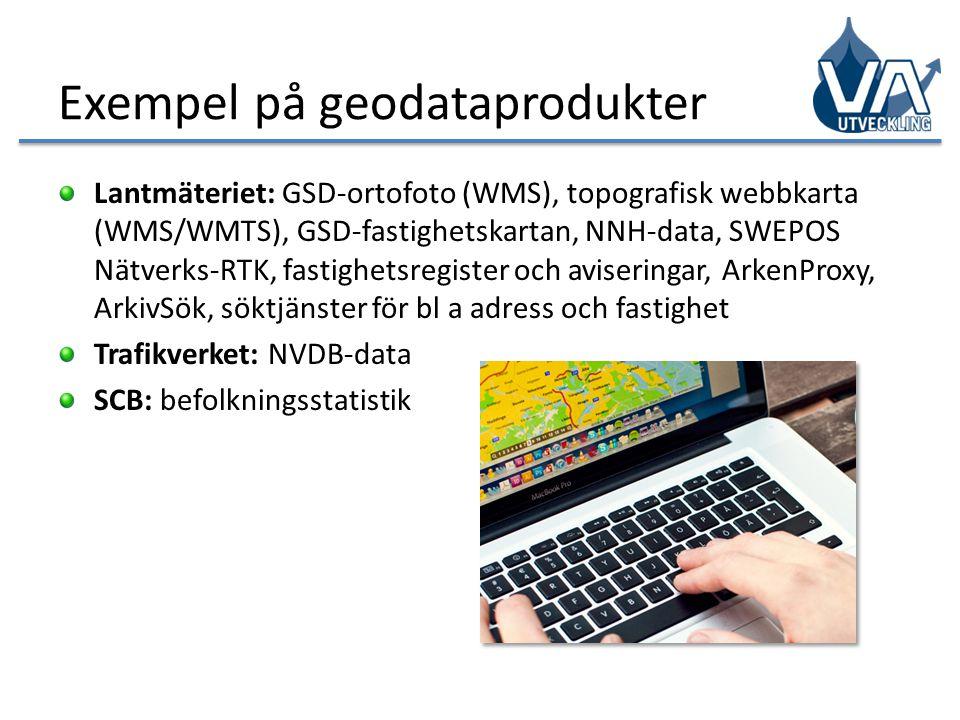 Exempel på geodataprodukter