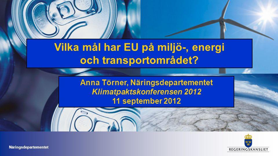 Vilka mål har EU på miljö-, energi och transportområdet
