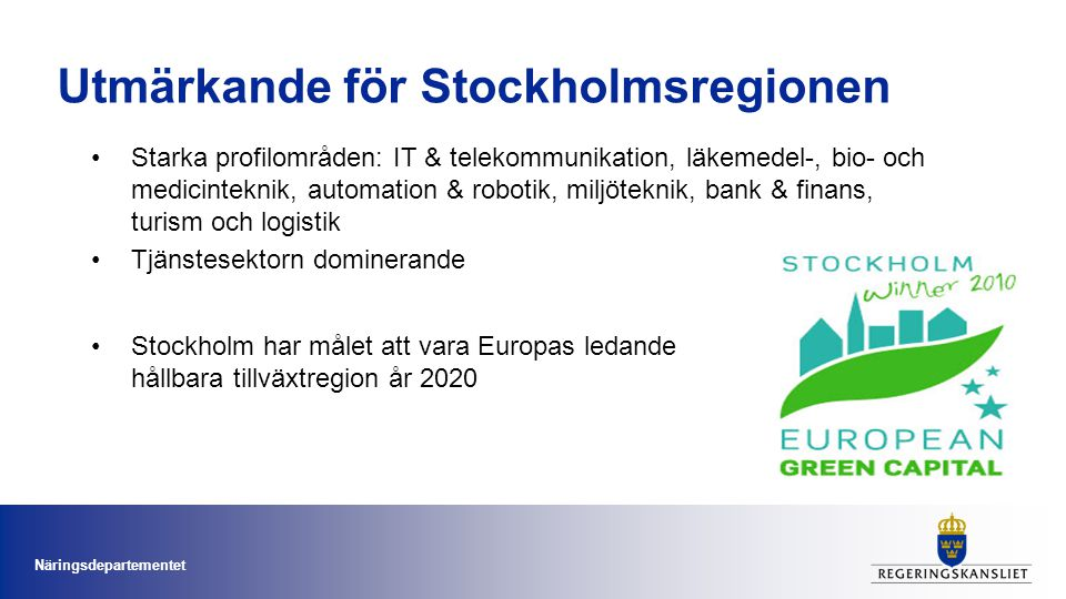 Utmärkande för Stockholmsregionen
