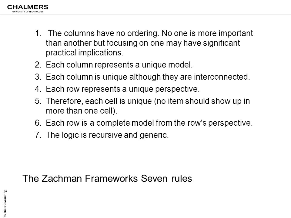 The Zachman Frameworks Seven rules