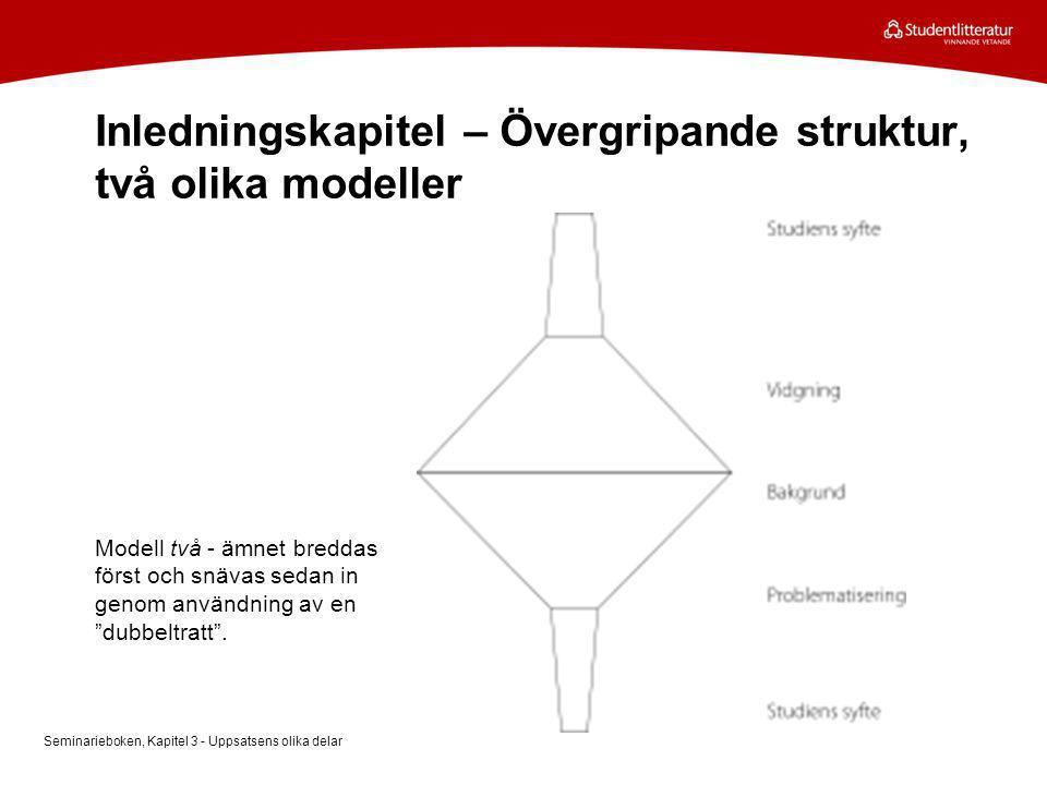 Inledningskapitel – Övergripande struktur, två olika modeller