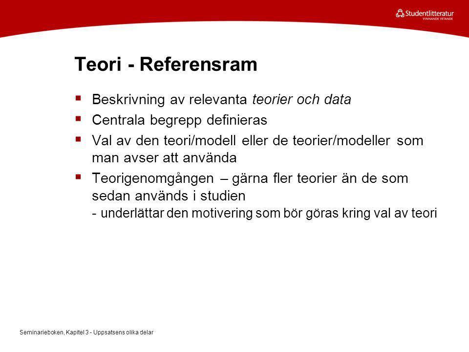 Teori - Referensram Beskrivning av relevanta teorier och data