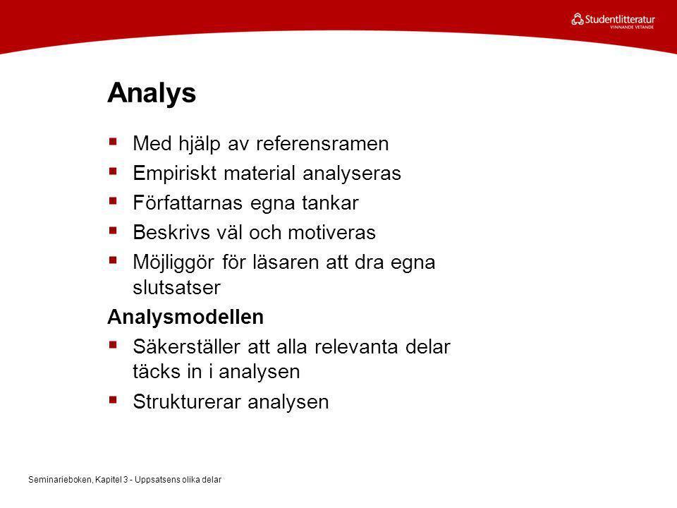 Analys Med hjälp av referensramen Empiriskt material analyseras