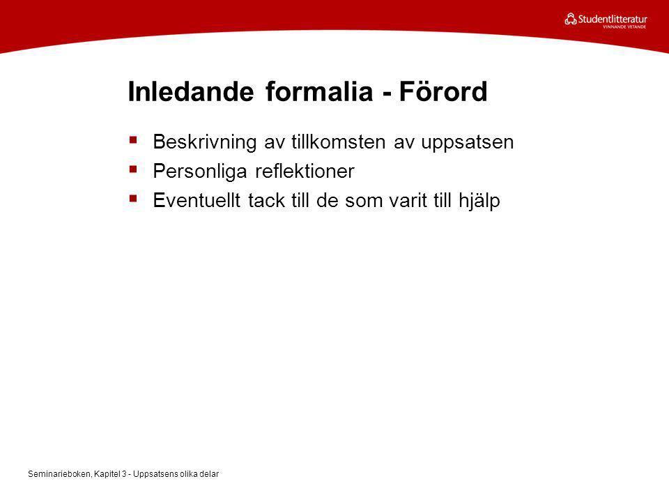 Inledande formalia - Förord
